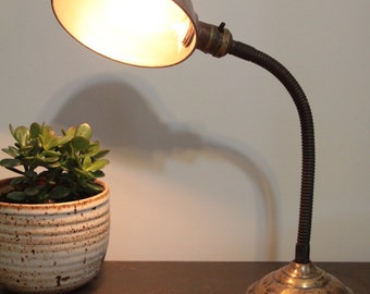 Vintage Industrial goose neck desk lamp with Edison bulb