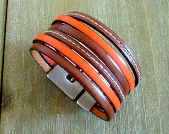 Man/woman leather Cuff Bracelet, Camel and Orange, 30MM magnetic silver plated clasp.