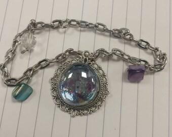 Silver galaxy charm bracelet blue and silver nebula glitter