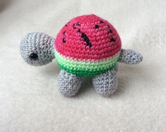 Crochet Tortoise Amigurumi with Watermelon Shell