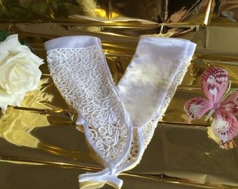 Embroidered Bridal Gloves fingerless white transparent silk vintage