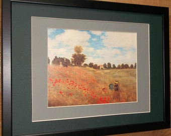 Mounted and framed Monet print, 12''x16'' framed, Poppy Field by Monet