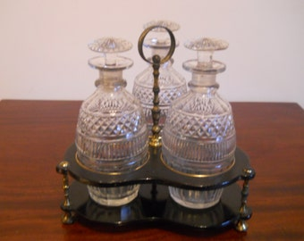Antique Decanters for cordial set of 3 in lacquer stand  Geo III circa 1790-1800