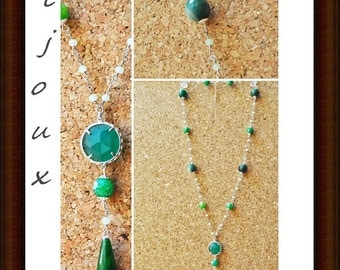 Handmade necklace with crystals, jade and green cat eyes