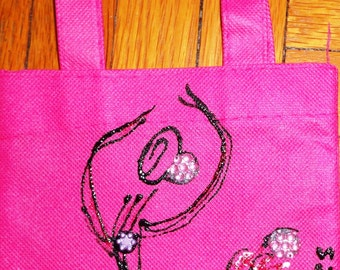 PINK mini canvas tote bag with hand-painted flamenco dancer design