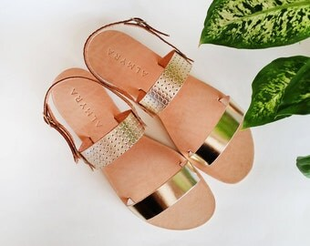Two strap leather sandals mabe by Almyra /embossed leather/handmade sandals - Available Gold