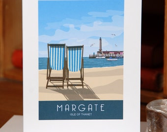Greetings Card of Deck Chairs on Margate Beach, Kent (Card ID: WOS049)