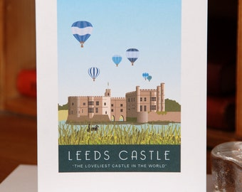 Greetings Card of Leeds Castle, Kent, with Balloons in Flight