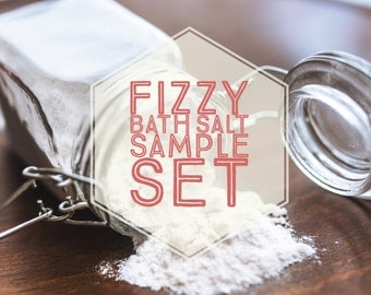 Assorted Fizzy Bath Salt Sample Set (Free Shipping to USA) Gifts for Her, Essential Oils, Fizzing Bath, Relaxing Bath Salts, Bath Bomb Salts