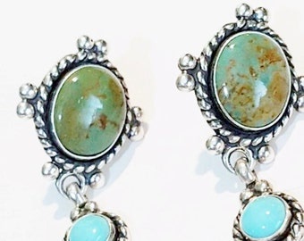 Signed C. Pollack & Quoc Turquoise Earrings