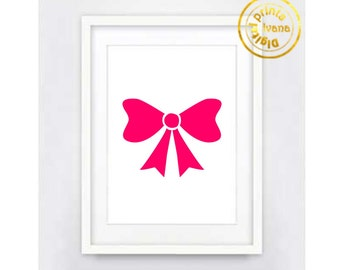 Printable art Digital Prints pink bow nursery modern wall art printable art, printable prints
