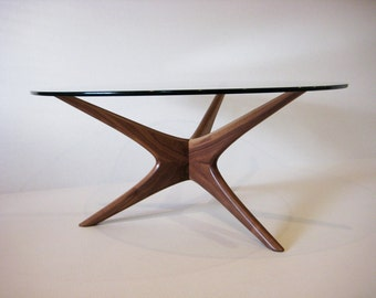 Mid century modern hand sculpted coffee table in walnut
