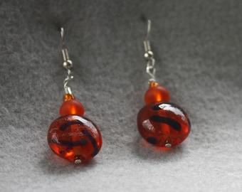 Fiery Orange Tiger-Striped Glass Earrings