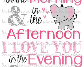 I Love You w/ Baby Elephant Newborn NURSERY SVG