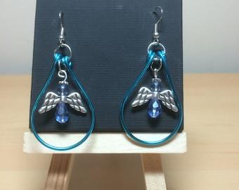 Blue loop angel earrings