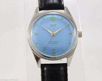 Genuine Vintage 1970's HMT Pilot Men's Watch, Swiss Watch, 17 Jewels, Para Shock, Military Watch, Antique Wrist Watch Men, Watch for Him