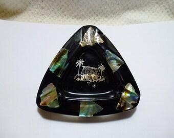 Vintage Small Triangular Ashtray with Paua Shell
