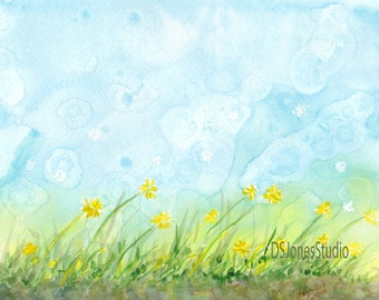 Signed Print of Watercolor - Dandelions
