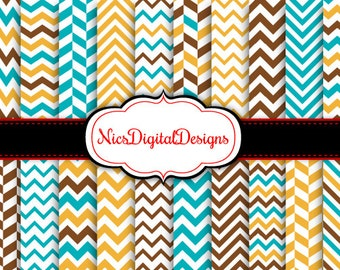 BUY 2 Get 1 FREE -20 Digital Papers. Chevrons in Blue Brown Yellow (3A no 1) for Personal Use and Small Commercial Use Scrapbooking