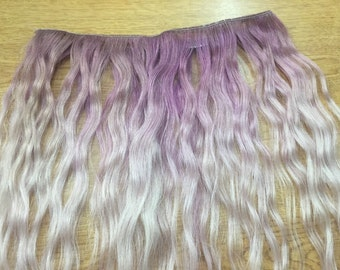 Purple Ombre human hair clip in wavy extensions