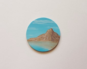CLEARANCE - Landscape Mountain Painting, Ocean Reflections, Small, Miniature, Tiny, Simple, Waves, Ocean, Birthday Gift, Circular, Sale
