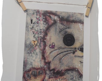 Mixed Media Art print/Cats Rule/Cats