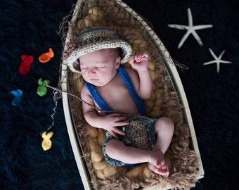 Baby Boy Fisherman Prop Set - Fishing Suspenders and Hat Set- Baby Boy Photo Prop - Newborn Boy Suspenders Outfit - Newborn Boy Fisherman
