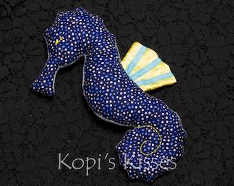 Seahorse softie (medium) - navy with spots