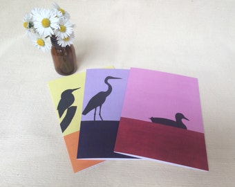 Water Birds: set of 3 original design acrylic paintings printed on blank greeting cards. Envelopes included.