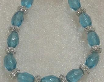 Icy Blue Beaded Bracelet