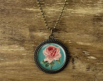 Rose necklace, vintage style rose pendant necklace, vintage rose necklace, flower necklace