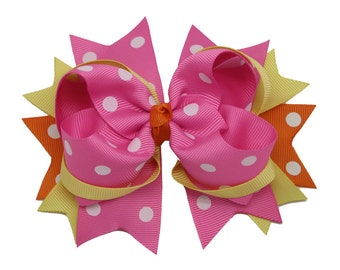 """5"""" Hair Bows, Pink & Yellow Dotted Hair Bow, Stacked Hair Bow, Girls Hair Bows, Hair Clips Barrettes, Babys Stacked Hair Bow, Toddler Bows"""