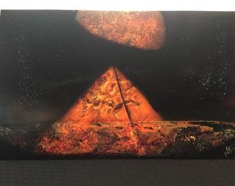Red, orange, yellow pyramids with planet - Spray paint art - Space Art - Puramid Soace Art