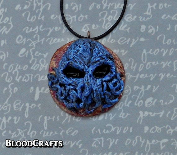 Great Cthulhu Skull octopus Kraken god  tentacles Lovecraft Mythos handmade  pendant necklace charm