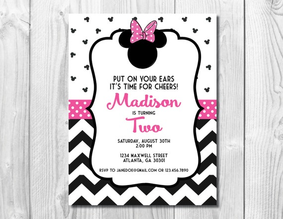 Pink Minnie Mouse Birthday Party Invitation >> Chevron Birthday Invitation >>  Girls Birthday Party  Invite >> Custom Printable Digital File