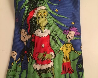"""Dr Seuss Christmas Tie The Grinch Who's Whooville Fun and Quirky """"How the Grinch stole Christmas"""""""