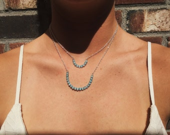 The Daley Necklace - Small or large blue/teal beaded half-circle on silver chain