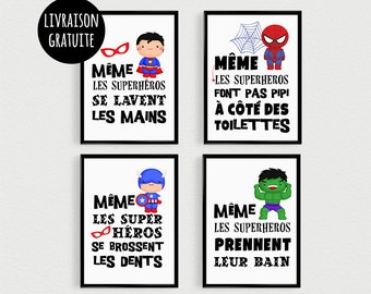 PROMO: Set of 4 Posters quotes super hero kids with pele mele in a bathroom - Scandinavian inspirational