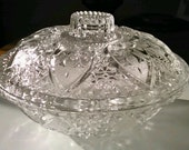 Vintage Pasari Indonesia Pressed Glass Candy Dish with Lid