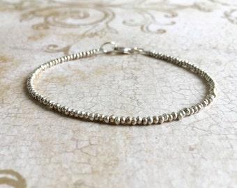 Karen Hill Tribe Fine Silver Bracelet, Fine Silver Bracelet, Beaded Bracelet, Stacking Bracelet, Dainty Bracelet, Delicate Silver Bracelet