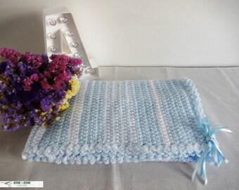 Blue and white crochet blanket for baby. Crochet blanket. Crib blanket. Lullaby blanket. Baby blanket
