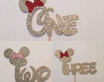 Set of 12, Mickey Mouse First Birthday cupcake toppers, Minnie Mouse First Birthday Cupcake Toppers, Cursive One cupcake toppers