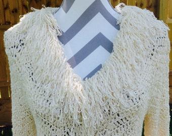 Vintage Handmade Sweater, Vintage Handmade Light Sweater, Hand Crochet Sweater, Vintage Cream Crochet Sweater