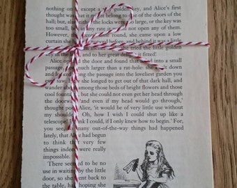 Alice in wonderland book pages - bundle of vintage book pages from Alice's Adventures in Wonderland and Through the Looking Glass
