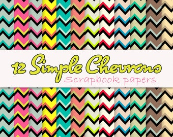 12 simple fruity bright chevron scrapbook papers instant download
