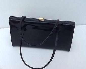 Vintage Freedex Black Patent Leather Kelly Handbag - 1960's