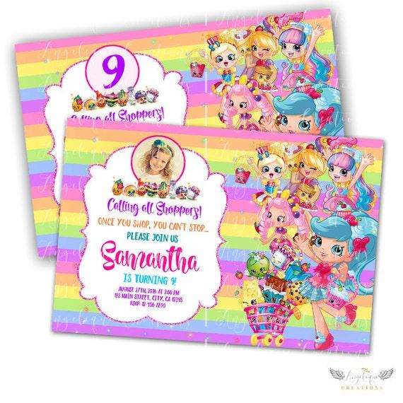 Rainbow Shopkins Birthday Invitations & Matching Blank Digital Thank You Card