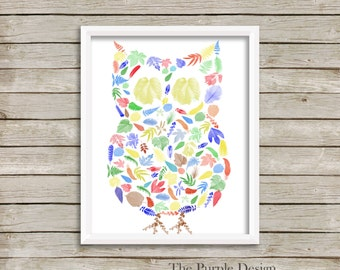 Woodland Owl wall art in primary colors
