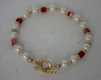 Ivory Hemalyke and Red Swarovski Crystal Beaded Bracelet