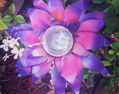 Pink Lotus Solar Light , Metal Flower Walkway Light